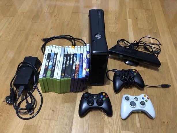 Xbox slim 360 + kinect + 3pady + gry