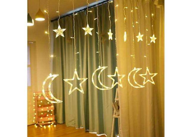 Гирлянда-занавес LED Звезды-Луна 2.5М белый свет новогодняя уличная