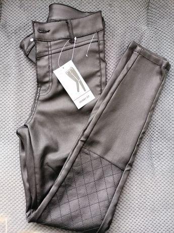 Spodnie czarne skórzane r. 34