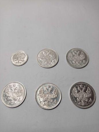 Монеты, 20 коп 1915 год, UNC, в идеале, оригинальные. 6 шт.