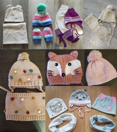 Разные набор шапка шарф снуд варежки зима, демисезонный 44 46 48