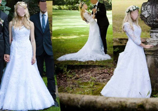 Sukienka ślubna Amy Love 36 38 S/M tren koronka boho bolerko koronkowa