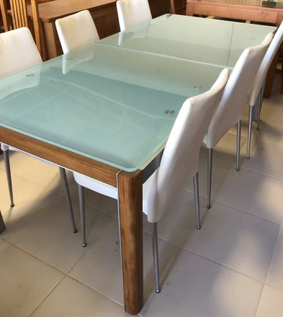 Mesa de vidro extensivel