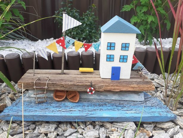 Dekoracja drewniany domek, handmade. Styl marynistyczny