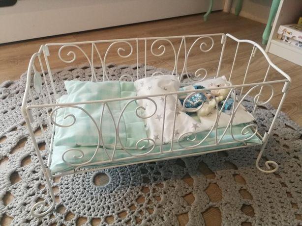 Łóżeczko dla lalek, metalowe, stylowe