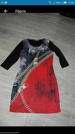 Sukienka Anna Field zamek czarna czerwona M modna