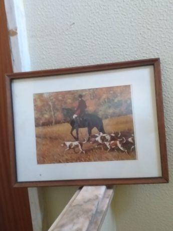 Quadro caçada  , antigo , caçada  a cavalo .