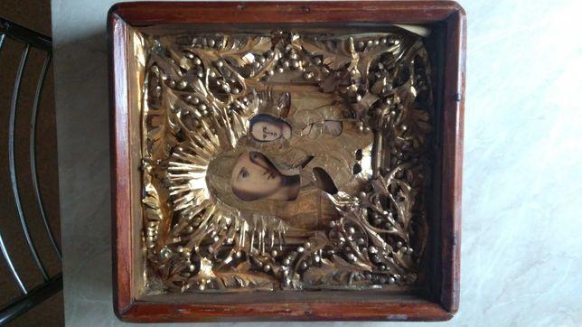 икона Божья Матерь под стеклом 1950 годов
