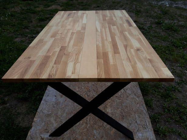 stół dębowy-metalowy