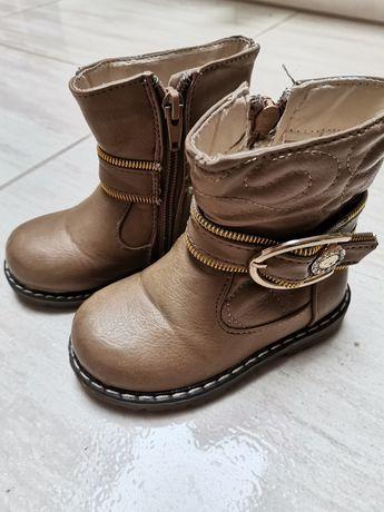Kozaki 22 na zimę botki brąz camel carmel buty zima