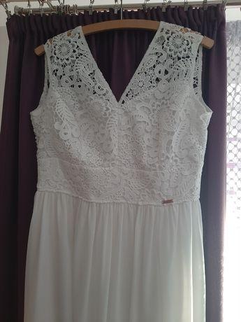 Suknia ślubna, poprawiny, śmietankowa 42