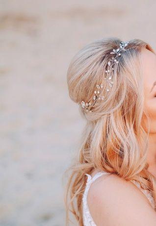 Ozdoba do włosów wianek ślubny Cudne Wianki Giada srebrna
