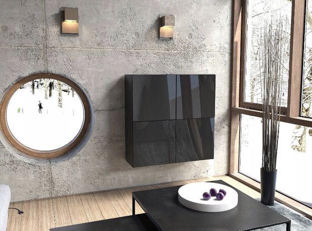 Nowe wiszące szafki półki 4x50 cm czarne połysk
