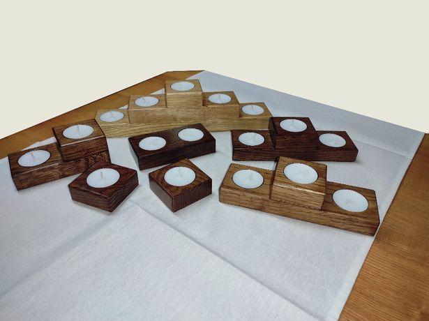 Świeczniki ozdobne, drewniane, wykonane ręcznie, wiele rodzajów