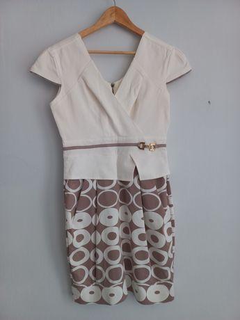 Sukienka biało-beżowa z basijką rozmiar 40