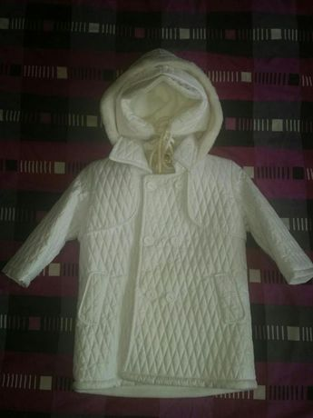 Biały płaszczyk do chrztu.  Rozmiar 86 cm.