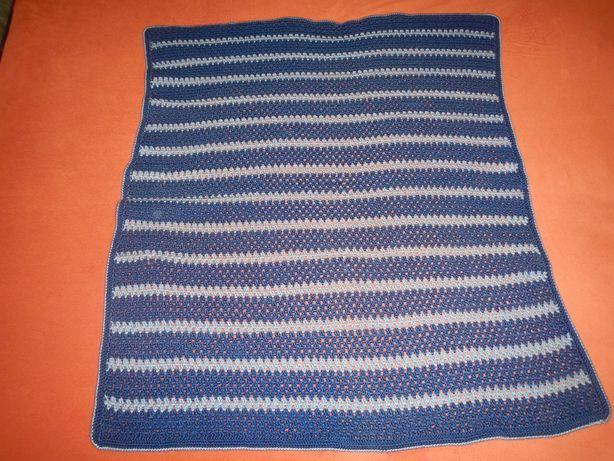 детский плед покрывало одеяло р.103см х 85см ручной вязки