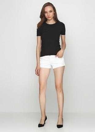 Белые джинсовые рваные короткие летние шорты hollister S