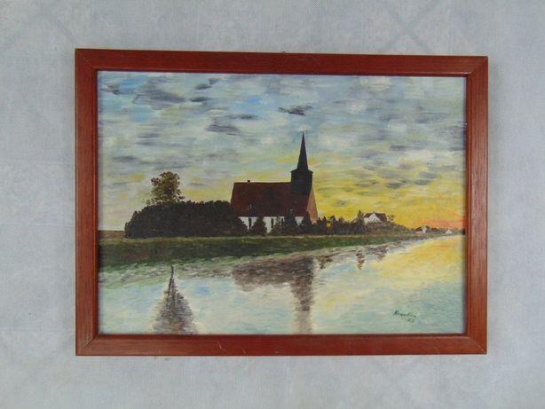 Obraz recznie malowany kościół sygnowany obrazek