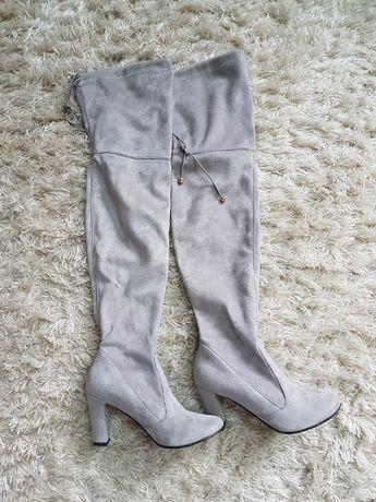 Buty damskie muszkieterki beżowe 38