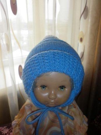 Теплая зимняя,шапочка двойная вязка до 1 года