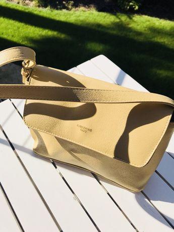 torebka na ramię G. VALENTINO Italy kolor pudrowy żółty odcienie beżu