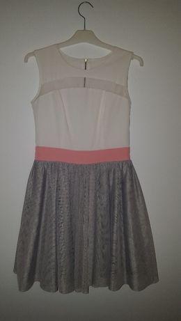 Sukienka biało- szara z różowym pasem rozmiar