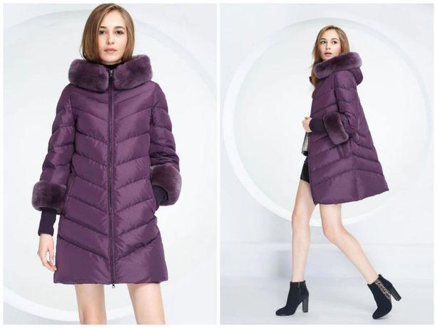 S / роскошный пуховик пуховое пальто 90% натуральный пух Basic Vogue