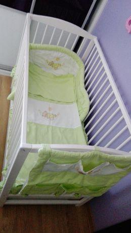 Śliczny komplet pościeli do łóżeczka 11 el z organizerem i baldachimem