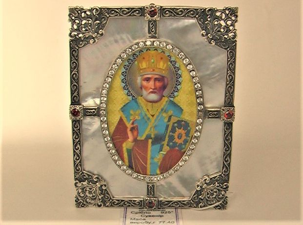 Икона святой Николай серебро 925 проба 77,40 грамма