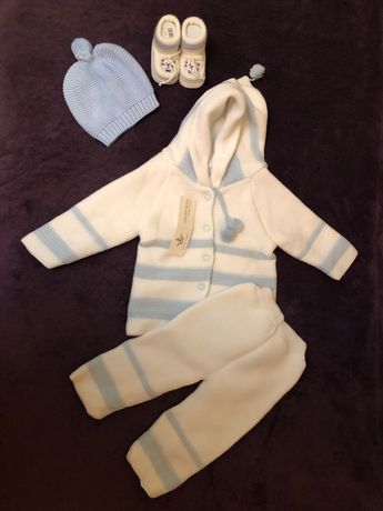 Костюм вязанный для мальчика девочки 6-9 месяцев