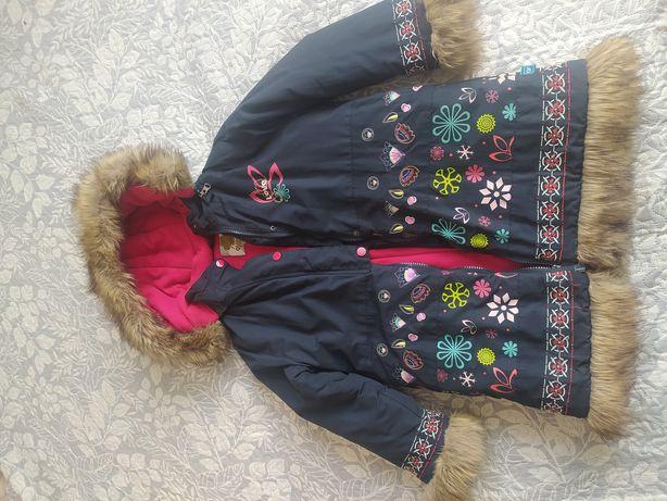 Зимнее пальто куртка для девочки, р. 134