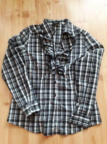 Koszula bluzka w kratkę z żabotem L
