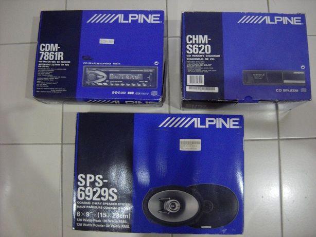 ALPINE - Auto Rádio + Caixa CD + Altifalantes