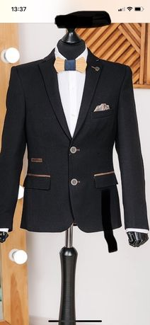 школьный пиджак west-fashion темно зелёный р.140.