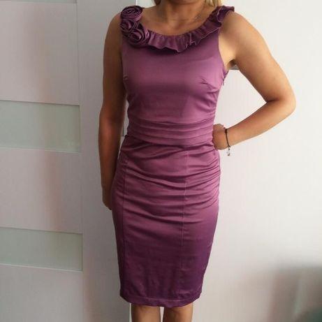 Koktajlowa sukienka, rozm.S/M, kolor lila