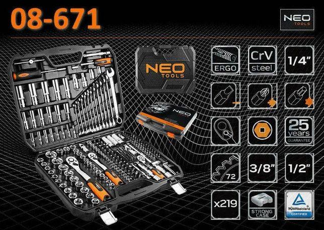 """Набор инструментов NEO Tools 1/2"""", 3/8"""" и 1/4"""" 219 предметов (08-671)"""