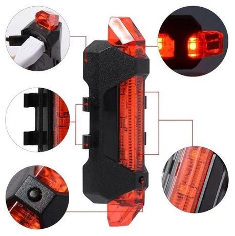 NOWA lampka lampa rower LED USB akumulator ładowanie czerwona biała