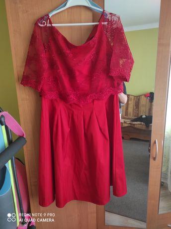 Sukienka rozkloszowana rozm 50,z koronką
