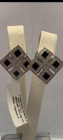 Продам новые золотые серьги 585° с черным ониксом и бриллиантами