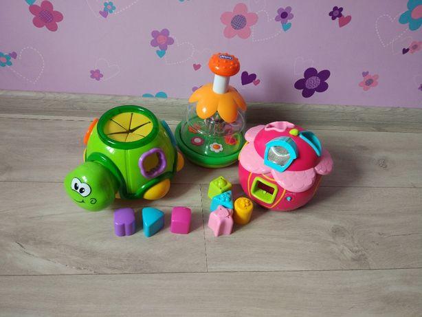 Игровой набор: юла Chicco, сортер Музыкальный домик и Черепаха