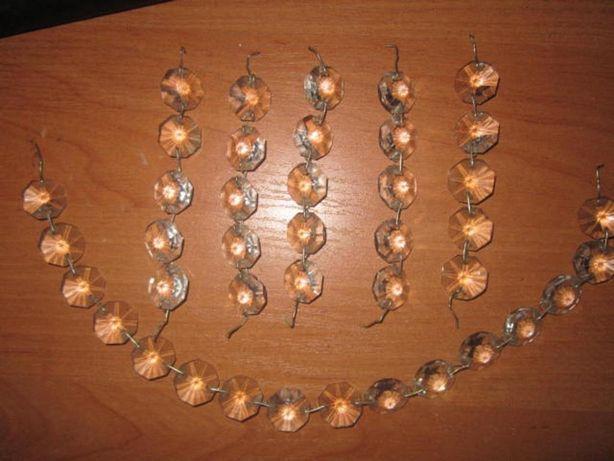 Girlanda kryształki szklane,cena za 5 szt.dł.9,3 cm.cena za 1 zwis