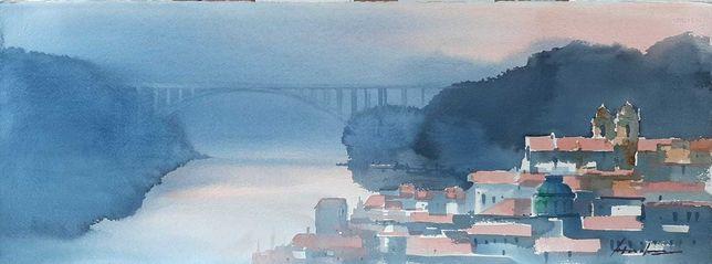 Aguarela António Neves cidade do Porto
