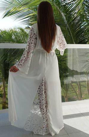 Халат в пол на утро невесты, белый, размер 44-46