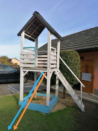 Domek drewniany dla dzieci plac zabaw zjeżdżalnia turkus