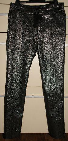 Spodnie damskie ZARA WOMAN, XS, czarnosrebrne brokatowe