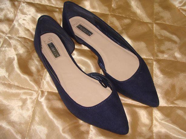 туфли балетки лодочки Primark оригинал 38р 24.5 см текстиль замш