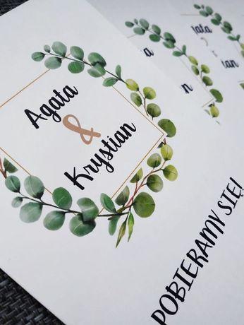 Zaproszenia ślubne A6 rustykalne zielone liście Boho eukaliptus