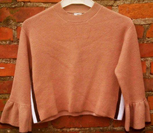 Modny krotki sweterek ,lampasy rekawy z falban
