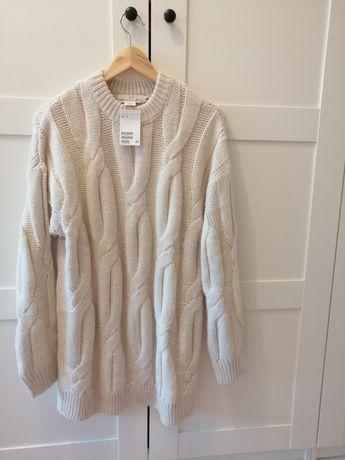 Długi, ciepły sweter roz. S firmy H&M